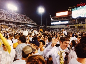 Sheer joy as the entire student section filled the field.